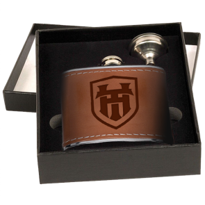 6oz Stainless Steel & Leather Flasks : 2 Piece Gift Box Set