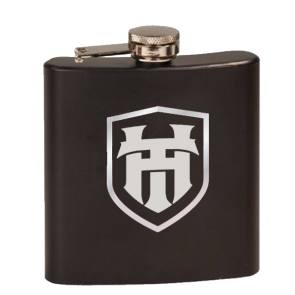 6oz Stainless Flask : Matte Black Finish : Wooden Case : 6 Piece Set